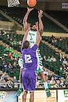 North Texas Mean Green guard Alzee Williams (3) and Stephen F. Austin Lumberjacks guard Dallas Cameron (12) in action during the game between the Stephen F. Austin Lumberjacks and the North Texas Mean Green at the Super Pit arena in Denton, Texas. SFA defeats UNT 87 to 53.