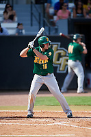 Siena Saints left fielder Jonathan Crimmin (16) at bat during a game against the UCF Knights on February 17, 2019 at John Euliano Park in Orlando, Florida.  UCF defeated Siena 7-1.  (Mike Janes/Four Seam Images)