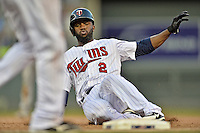 29 September 2012: Minnesota Twins outfielder Denard Span slides back to first during a game against the Detroit Tigers at Target Field in Minneapolis, MN. The Tigers defeated the Twins 6-4 in the second game of their 3-game series. Mandatory Credit: Ed Wolfstein Photo