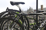 Thomas Voeckler's (FRA) Team Europcar spare Colnago bike on the car rack before the start of the 98th edition of Liege-Bastogne-Liege outside the Palais des Princes-Eveques, running 257.5km from Liege to Ans, Belgium. 22nd April 2012.  <br /> (Photo by Eoin Clarke/NEWSFILE).