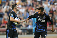 Stanford, CA - Saturday June 30, 2018: Vako, Chris Wondolowski prior to a Major League Soccer (MLS) match between the San Jose Earthquakes and the LA Galaxy at Stanford Stadium.