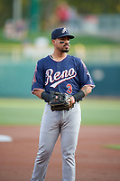 Juniel Querecuto (3) of the Reno Aces during the game against the Salt Lake Bees at Smith's Ballpark on August 24, 2021 in Salt Lake City, Utah. The Aces defeated the Bees 6-5. (Stephen Smith/Four Seam Images)