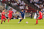 Minamino Takumi of Japan (C) in action during the AFC Asian Cup UAE 2019 Group F match between Oman (OMA) and Japan (JPN) at Zayed Sports City Stadium on 13 January 2019 in Abu Dhabi, United Arab Emirates. Photo by Marcio Rodrigo Machado / Power Sport Images