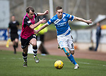 St Johnstone v Dundee…11.03.17     SPFL    McDiarmid Park<br />Steven MacLean fends off Paul McGowan<br />Picture by Graeme Hart.<br />Copyright Perthshire Picture Agency<br />Tel: 01738 623350  Mobile: 07990 594431