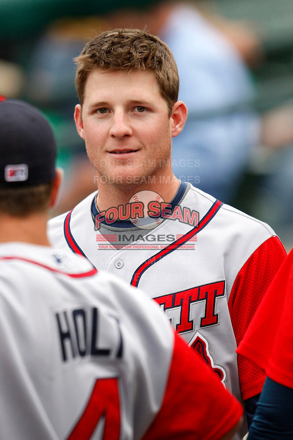 June 3, 2009:  Catcher Clint Sammons of the Gwinnett Braves in the dugout during a game at Frontier Field in Rochester, NY.  The Gwinnett Braves are the International League Triple-A affiliate of the Atlanta Braves.  Photo by:  Mike Janes/Four Seam Images