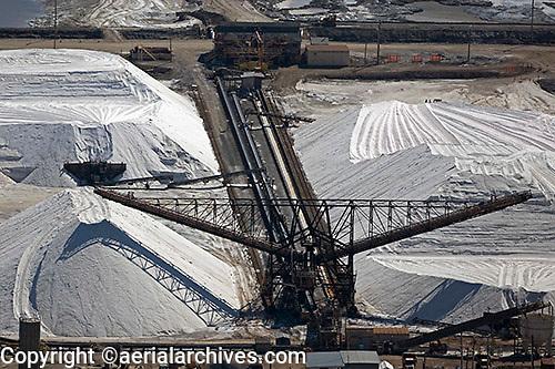aerial photograph salt piles Newark, California