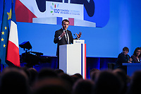 EMMANUEL MACRON (PRESIDENT DE LA REPUBLIQUE) - LA SEANCE DE CLOTURE DU 100EME CONGRES DES MAIRES DE FRANCE A PARIS, FRANCE, LE 23/11/2017.
