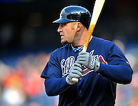 2 April 2011: Atlanta Braves outfielder Eric Hinske at bat against the Washington Nationals at Nationals Park in Washington, District of Columbia. The Nationals defeated the Braves 6-3 in the second game of their season opening series. Mandatory Credit: Ed Wolfstein Photo