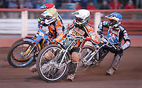 Heat 13: Tai Woffinden (white), Joe Jacobs (yellow), Peter Karlsson (red) and Rory Schlein (red) - Lakeside Hammers vs Wolverhampton Wolves, Elite League Speedway at the Arena Essex Raceway, Pufleet - 04/07/14 - MANDATORY CREDIT: Rob Newell/TGSPHOTO - Self billing applies where appropriate - 0845 094 6026 - contact@tgsphoto.co.uk - NO UNPAID USE