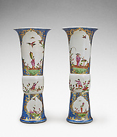 BNPS.co.uk (01202 558833)<br /> Pic: Sotheby's/BNPS<br /> <br /> Pictured: A very rare pair of Meissen Augustus Rex underglaze blue-ground beaker vases has sold for £635,000.<br /> <br /> A stunning collection of German porcelain that was found by the so-called Monuments Men before it could be destroyed by the Nazis has sold 76 years later for over £10m.<br /> <br /> The hoard of Meissen antiques that was seized by the Third Reich during the Second World War was discovered in a salt mine in Austria in 1945.<br /> <br /> It had been amassed years earlier by German-Jewish industrialist Dr Franz Oppenheimer and his wife Margarethe.