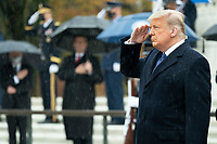Veterans Day Observance at Arlington National Cemetery<br /> <br /> President Donald J. Trump salutes Wednesday, Nov. 11, 2020, during ceremonies at the National Veterans Day Observance at Arlington National Cemetery in Arlington, Va. (Official White House Photo by Shealah Craighead)