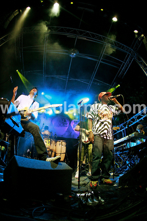 **ALL ROUND PICTURES FROM SOLARPIX.COM**.*WORLDWIDE RIGHTS*.Mark Ronson and his band (which include Wale, Alex Greenwald, Tawiah, Daniel Merriweather and the Haggis Horns) perform live at Ibiza Rocks at Bar M, San Antonio, Ibiza, 24th July 2007..JOB REF:  4373  GMT   DATE: 24_07_2007..This pic: Mark Ronson & band..**MUST CREDIT SOLARPIX.COM OR DOUBLE FEE WILL BE CHARGED* *UNDER NO CIRCUMSTANCES IS THIS IMAGE TO BE REPRODUCED FOR ANY ONLINE EDITION WITHOUT PRIOR PERMISSION*