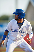 Dunedin Blue Jays shortstop Lourdes Gurriel (13) watches the play while tagging up at third during a game against the St. Lucie Mets on April 19, 2017 at Florida Auto Exchange Stadium in Dunedin, Florida.  Dunedin defeated St. Lucie 9-1.  (Mike Janes/Four Seam Images)