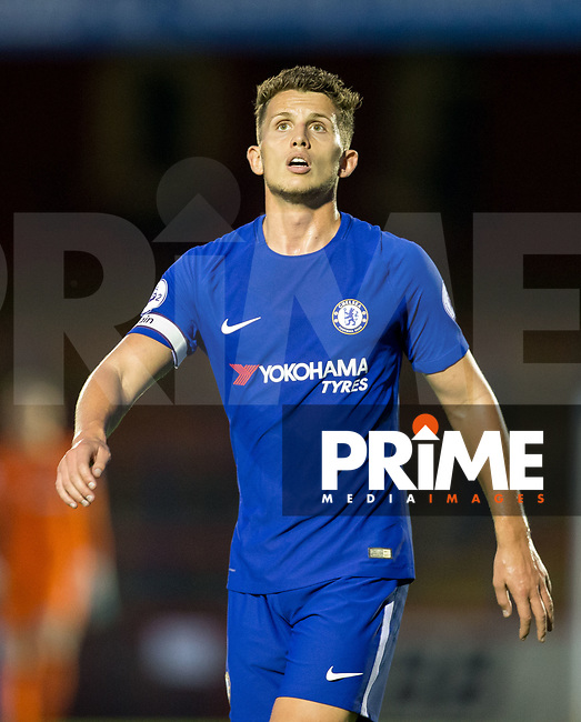 Jordan Houghton of Chelsea during the U23 Premier League 2 match between Chelsea and Everton at the EBB Stadium, Aldershot, England on 25 August 2017. Photo by Andy Rowland.