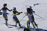 FIS Alpine World Ski Championships 2021 Cortina . Cortina d'Ampezzo, Italy on February 17, 2021. Alpine Team Event, Fabian Wilkens Solheim, Sebastain Foss-Solevaag, Thea Louise Stjernesund and Kristina Riis-Johannessen of Norway celebrate in the finish area as Norway secure gold