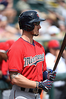 Minnesota Twins outfielder Jordan Schafer (1) before a Spring Training game against the Pittsburgh Pirates on March 13, 2015 at McKechnie Field in Bradenton, Florida.  Minnesota defeated Pittsburgh 8-3.  (Mike Janes/Four Seam Images)