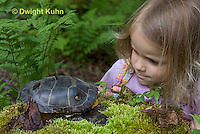 1R14-510z  Child looking at Painted Turtle - Chrysemys picta,  PRA.