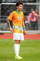 London, UK on Sunday 31st August, 2014. Jai Brooks of The Janiskians during the Soccer Six charity celebrity football tournament at Mile End Stadium, London.