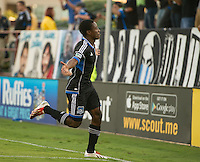 SANTA CLARA, CA - Saturday July 20, 2013:  San Jose Earthquakes midfielder Cordell Cato (7) celebrates his goal during the San Jose Earthquakes vs Norwich City F.C. Canaries match in Buck Shaw Stadium in Santa Clara, CA. Final score SJ Earthquakes 1, Norwich City F.C. Canaries 0.