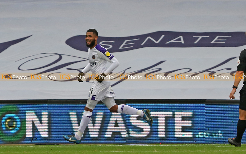 Leon Clarke of Shrewsbury Town celebrates his goal during AFC Wimbledon vs Shrewsbury Town, Sky Bet EFL League 1 Football at The Kiyan Prince Foundation Stadium on 17th October 2020