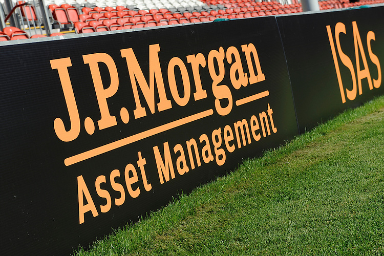 20130801 Copyright onEdition 2013 ©<br /> Free for editorial use image, please credit: onEdition.<br /> <br /> JP Morgan perimeter branding before the J.P. Morgan Asset Management Premiership Rugby 7s Series.<br /> <br /> The J.P. Morgan Asset Management Premiership Rugby 7s Series kicks off for the fourth season on Thursday 1st August with Pool A at Kingsholm, Gloucester with Pool B being played at Franklin's Gardens, Northampton on Friday 2nd August, Pool C at Allianz Park, Saracens home ground, on Saturday 3rd August and the Final being played at The Recreation Ground, Bath on Friday 9th August. The innovative tournament, which involves all 12 Premiership Rugby clubs, offers a fantastic platform for some of the country's finest young athletes to be exposed to the excitement, pressures and skills required to compete at an elite level.<br /> <br /> The 12 Premiership Rugby clubs are divided into three groups for the tournament, with the winner and runner up of each regional event going through to the Final. There are six games each evening, with each match consisting of two 7 minute halves with a 2 minute break at half time.<br /> <br /> For additional images please go to: http://www.w-w-i.com/jp_morgan_premiership_sevens/<br /> <br /> For press contacts contact: Beth Begg at brandRapport on D: +44 (0)20 7932 5813 M: +44 (0)7900 88231 E: BBegg@brand-rapport.com<br /> <br /> If you require a higher resolution image or you have any other onEdition photographic enquiries, please contact onEdition on 0845 900 2 900 or email info@onEdition.com<br /> This image is copyright the onEdition 2013©.<br /> <br /> This image has been supplied by onEdition and must be credited onEdition. The author is asserting his full Moral rights in relation to the publication of this image. Rights for onward transmission of any image or file is not granted or implied. Changing or deleting Copyright information is illegal as specified in the Copyright, Design and Patents Act 1988. If you are 