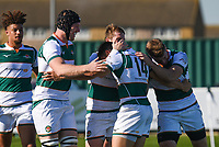 Seb Stegmann of Ealing Trailfinders celebrates scoring their fourth try during the Greene King IPA Championship match between Ealing Trailfinders and Cornish Pirates at Castle Bar , West Ealing , England  on 29 September 2018. Photo by Match action Paul Paxford / PRiME Media Images.
