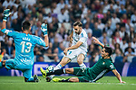 Borja Mayoral Moya (l) of Real Madrid is tackled by Aissa Mandi of Real Betis during the La Liga 2017-18 match between Real Madrid and Real Betis at Estadio Santiago Bernabeu on 20 September 2017 in Madrid, Spain. Photo by Diego Gonzalez / Power Sport Images
