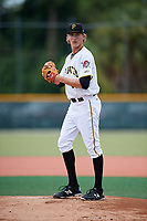 GCL Pirates starting pitcher Braxton Ashcraft (65) gets ready to deliver a pitch during the first game of a doubleheader against the GCL Yankees East on July 31, 2018 at Pirate City Complex in Bradenton, Florida.  GCL Yankees East defeated GCL Pirates 2-0.  (Mike Janes/Four Seam Images)