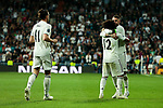 Real Madrid's (L-R) Gareth Bale, Marcelo Vieira and Sergio Ramos celebrate goal during UEFA Champions League match between Real Madrid and FC Viktoria Plzen at Santiago Bernabeu Stadium in Madrid, Spain. October 23, 2018. (ALTERPHOTOS/A. Perez Meca)