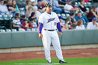 Winston-Salem Dash manager Julio Vinas #38 coaches third base during the Carolina League against the Wilmington Blue Rocks at BB&T Ballpark on April 23, 2011 in Winston-Salem, North Carolina.   Photo by Brian Westerholt / Four Seam Images
