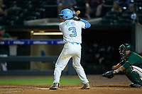 Kyle Datres (3) of the North Carolina Tar Heels at bat against the Miami Hurricanes in the second semifinal of the 2017 ACC Baseball Championship at Louisville Slugger Field on May 27, 2017 in Louisville, Kentucky. The Tar Heels defeated the Hurricanes 12-4. (Brian Westerholt/Four Seam Images)