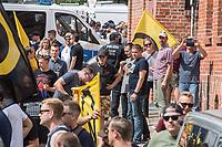 """Am Samstag den 20 Juli 2019 versuchten in Halle an der Saale ca. 200 Mitglieder und Anhaenger der rechtsextremen """"Identitaeren Bewegung"""", IB, eine Demonstration durchzufuehren. Sie versammelten sich dafuer vor dem Haus der IB in der Adam-Kuckhoff-Straße 16. Aufgrund von Gegenprotesten konnten die Rechtsextremen jedoch nicht marschieren, da alle Straßen um ihr Haus von Gegendemonstranten blockiert wurden.<br /> Im Bild 4.vr mit dunklem T-Shirt und hellem Aufdruck: Daniel Fiss, Bundesleiter der Identitaeren Bewegung Deutschland, IB und ehemaliger Mitarbeiter der AfD-Bundestagsabgeordneten Siegbert Droese.<br /> 20.7.2019, Berlin<br /> Copyright: Christian-Ditsch.de<br /> [Inhaltsveraendernde Manipulation des Fotos nur nach ausdruecklicher Genehmigung des Fotografen. Vereinbarungen ueber Abtretung von Persoenlichkeitsrechten/Model Release der abgebildeten Person/Personen liegen nicht vor. NO MODEL RELEASE! Nur fuer Redaktionelle Zwecke. Don't publish without copyright Christian-Ditsch.de, Veroeffentlichung nur mit Fotografennennung, sowie gegen Honorar, MwSt. und Beleg. Konto: I N G - D i B a, IBAN DE58500105175400192269, BIC INGDDEFFXXX, Kontakt: post@christian-ditsch.de<br /> Bei der Bearbeitung der Dateiinformationen darf die Urheberkennzeichnung in den EXIF- und  IPTC-Daten nicht entfernt werden, diese sind in digitalen Medien nach §95c UrhG rechtlich geschuetzt. Der Urhebervermerk wird gemaess §13 UrhG verlangt.].vr mit dunklem T-Shirt und hellem Aufdruck: Daniel Fiss, Bundesleiter der Identitaeren Bewegung Deutschland, IB und ehemaliger Mitarbeiter der AfD-Bundestagsabgeordneten Siegbert Droese.<br /> 20.7.2019, Berlin<br /> Copyright: Christian-Ditsch.de<br /> [Inhaltsveraendernde Manipulation des Fotos nur nach ausdruecklicher Genehmigung des Fotografen. Vereinbarungen ueber Abtretung von Persoenlichkeitsrechten/Model Release der abgebildeten Person/Personen liegen nicht vor. NO MODEL RELEASE! Nur fuer Redaktionelle Zwecke. Don't publish without copyright Chris"""