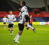31st October 2020; Liberty Stadium, Swansea, Glamorgan, Wales; English Football League Championship Football, Swansea City versus Blackburn Rovers; Andre Ayew of Swansea City celebrates with Yan Dhanda after scoring his sides second goal in the 61st minute