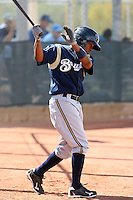 Yancarlos Ortiz of the Milwaukee Brewers plays in a spring training game against the Los Angeles Dodgers at the Brewers complex on April 2, 2011 in Phoenix, Arizona. .Photo by:  Bill Mitchell/Four Seam Images.