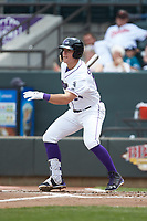 Gavin Sheets (24) of the Winston-Salem Dash follows through on his swing against the Salem Red Sox at BB&T Ballpark on April 22, 2018 in Winston-Salem, North Carolina.  The Red Sox defeated the Dash 6-4 in 10 innings.  (Brian Westerholt/Four Seam Images)