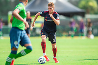 LAKE BUENA VISTA, FL - JULY 14: Robert Beric #27 of the Chicago Fire dribbles the ball during a game between Seattle Sounders FC and Chicago Fire at Wide World of Sports on July 14, 2020 in Lake Buena Vista, Florida.