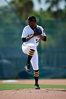 GCL Pirates pitcher Estalin Ortiz (54) during a Gulf Coast League game against the GCL Twins on August 6, 2019 at Pirate City in Bradenton, Florida.  GCL Twins defeated the GCL Pirates 4-2 in the first game of a doubleheader.  (Mike Janes/Four Seam Images)