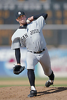 Noah Lowry of the San Jose Giants pitches during a California League 2002 season game against the High Desert Mavericks at Mavericks Stadium, in Adelanto, California. (Larry Goren/Four Seam Images)