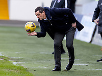 13th March 2021; Global Energy Stadium, Dingwall, Highland, Scotland; Scottish Premiership Football, Ross County versus Hibernian; Jack Ross Hibernian Manager gets the ball back into play