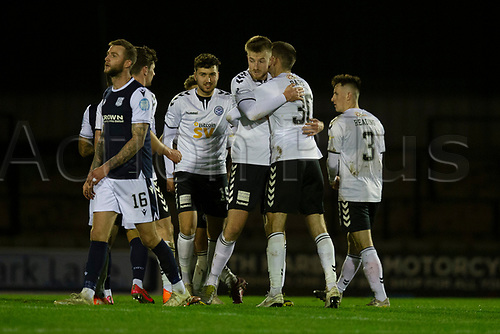21st November 2020; Somerset Park, Ayr, South Ayrshire, Scotland; Scottish Championship Football, Ayr United versus Dundee FC; Dejection for Christie Elliott of Dundee as Jack Baird and Sam Roscoe of Ayr United celebrate at the end of the match