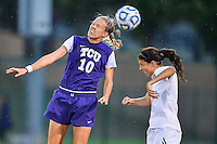 TCU forward Michelle Prokof (10) goes for a header during NCAA soccer game, Friday, September 12, 2014 in San Marcos, Tex. TCU defeated Texas State 1-0. (Mo Khursheed/TFV Media via AP Images)