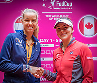 Den Bosch, The Netherlands, Februari 8, 2019,  Maaspoort , FedCup  Netherlands - Canada, Draw,  first match on sunday Arantxa Rus  NED (L) vs Bianca Andreescu (CAN)<br /> Photo: Tennisimages/Henk Koster
