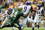 Baylor Bears cornerback Ryan Reid (9) and TCU Horned Frogs wide receiver Josh Doctson (9) in action during the game between the TCU Horned Frogs and the Baylor Bears at the McLane Stadium in Waco, Texas. TCU leads Baylor 31 to 27 at halftime.