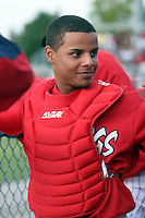 August 3rd 2008:  Catcher Christian Rosa of the Batavia Muckdogs, Class-A affiliate of the St. Louis Cardinals, during a game at Dwyer Stadium in Batavia, NY.  Photo by:  Mike Janes/Four Seam Images