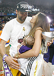 Real Madrid's Felipe Reyes celebrates with his family the victory in the Euroleague Final Match. May 15,2015. (ALTERPHOTOS/Acero)