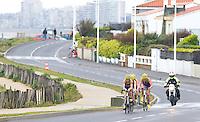 28 APR 2012 - LES SABLES D'OLONNE, FRA - Carole Peon (left) leads the Poissy Triathlon team on the bike during the women's French Grand Prix Series triathlon prologue round in Les Sables d'Olonne, France (PHOTO (C) 2012 NIGEL FARROW)