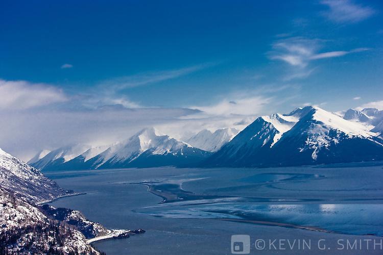 Aerial photo of Turnaigain Arm and the Kenai Mountains, late winter, Southcentral Alaska, USA.