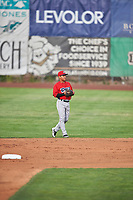Kevin Arias (4) of the Orem Owlz during the game against the Ogden Raptors at Lindquist Field on June 20, 2019 in Ogden, Utah. The Owlz defeated the Raptors 11-8. (Stephen Smith/Four Seam Images)