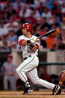 3 September 2005: Gary Bennett, catcher for the Washington Nationals, at bat during a game against the Philadelphia Phillies. The Nationals defeated the Phillies 5-4 at RFK Stadium in Washington, DC. <br />