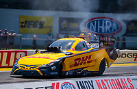 Aug 8, 2020; Clermont, Indiana, USA; NHRA funny car driver J.R. Todd during qualifying for the Indy Nationals at Lucas Oil Raceway. Mandatory Credit: Mark J. Rebilas-USA TODAY Sports